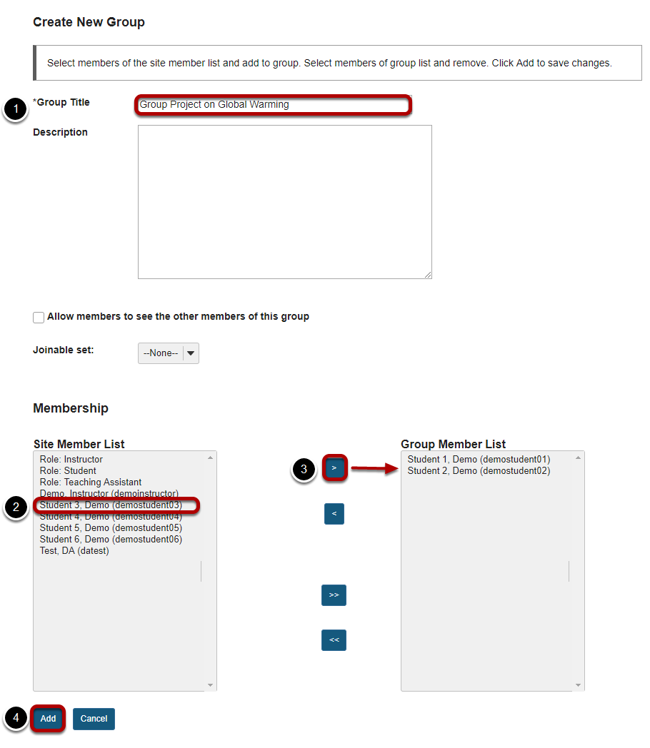 Create New Group screen with Group Title, Student 3, and right arrow highlighted.