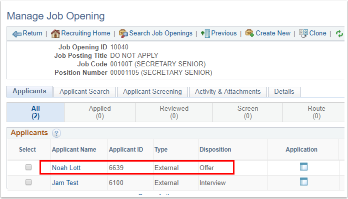 Manage Job Opening page