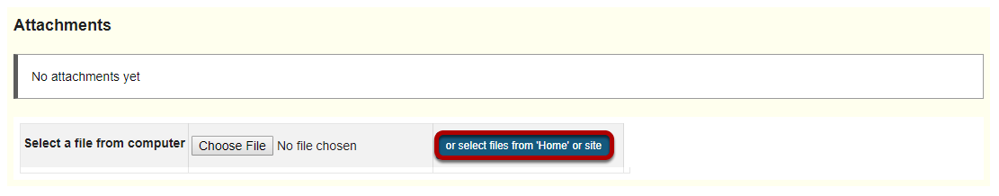 Under Attachments, select files from workspace or site.