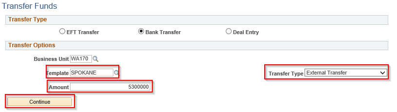 Transfer Funds page