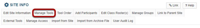 Manage tools tab