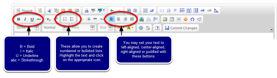 To format your article, use the buttons in the WYSIWYG toolbar. The most common formatting tools are circled below.