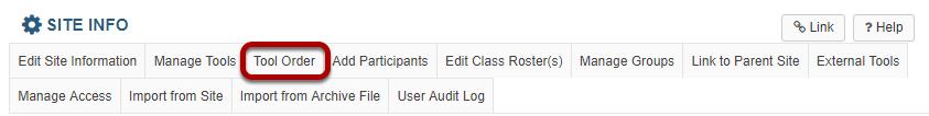 Tool order tab