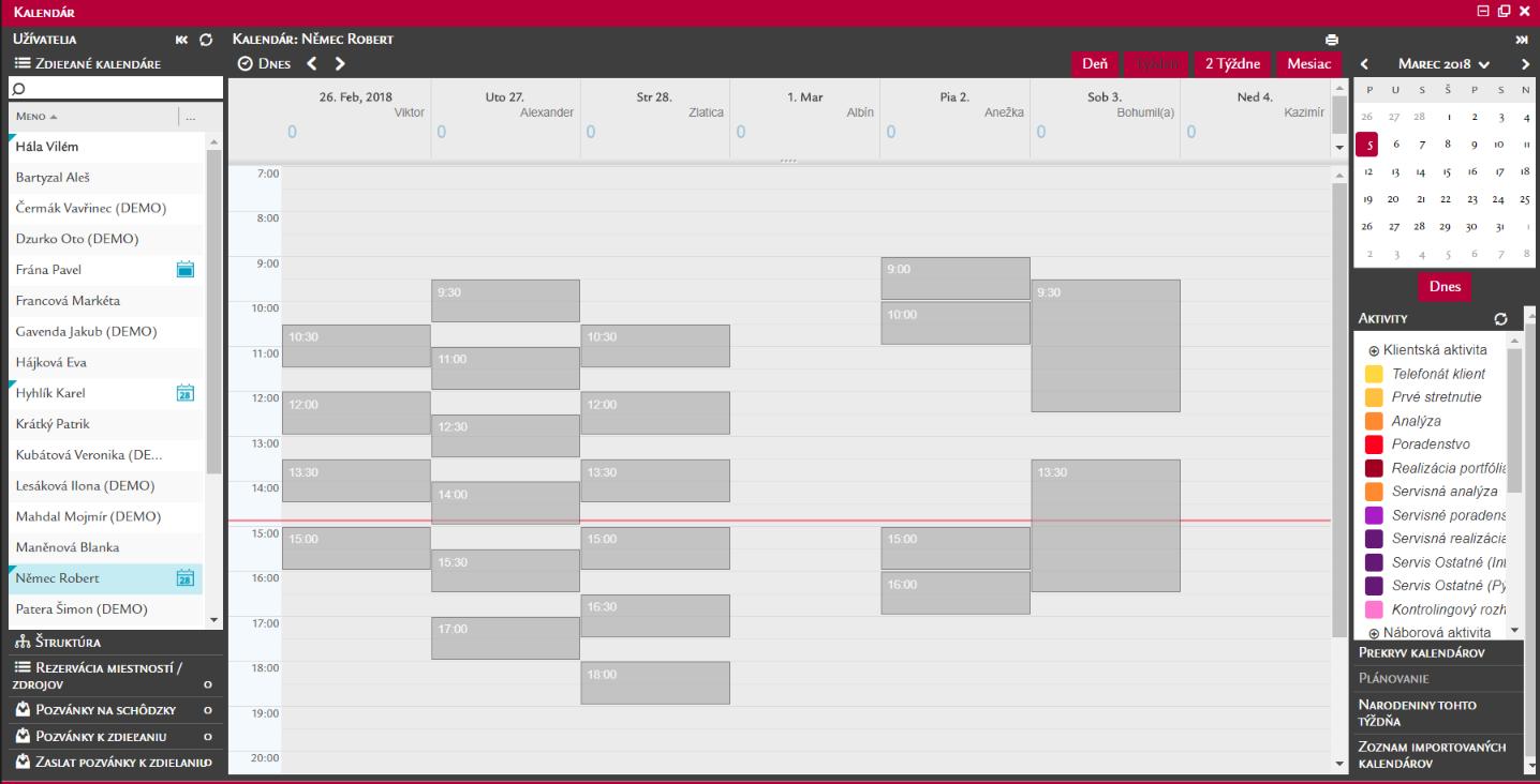 Zobrazenie kalendára pri úrovni zdieľania Voľno/Zaneprázdnený