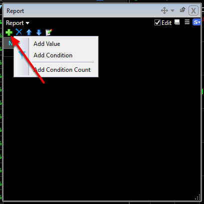 4.  You can now start building the report by clicking on the Green +.