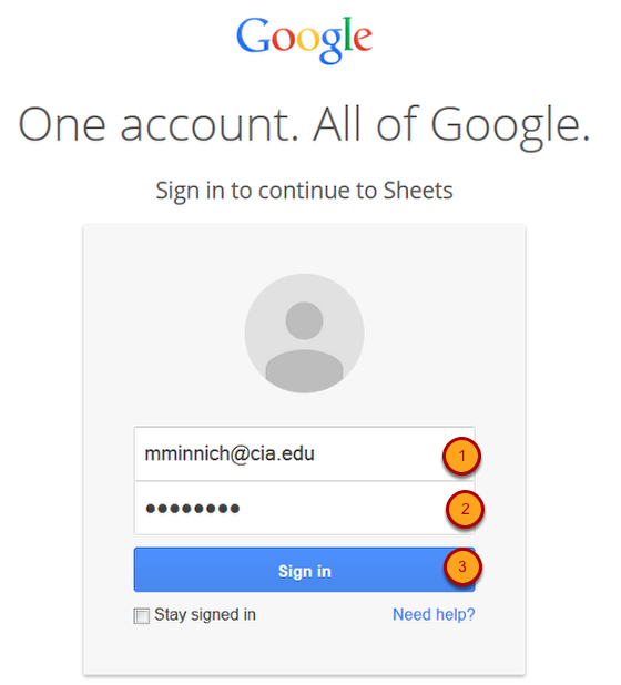 Sign in to your CIA Google Account