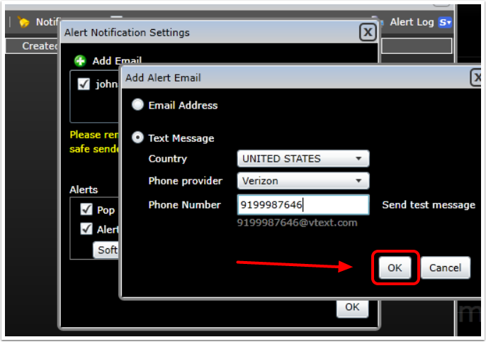 5. Fill in your country, phone provider, and phone number. Send a test message if you would like, then select Ok.