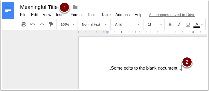 Google Doc Title and content