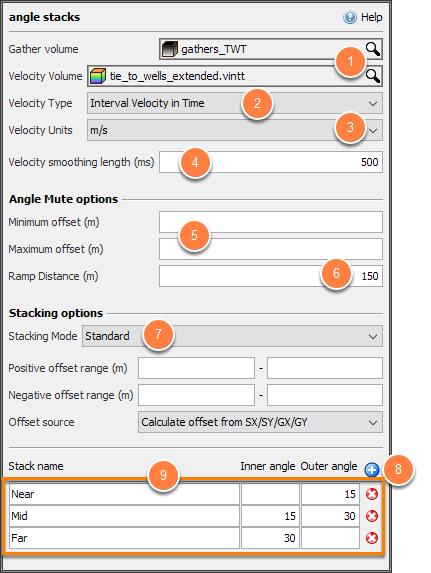 Define settings for angle stacks
