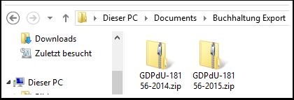 GDPdU-Archive auswählen