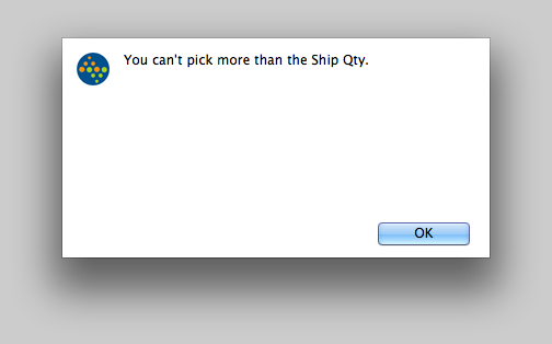 You can't pick more than the Ship Qty.