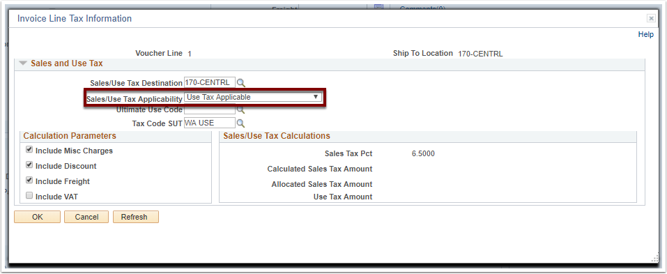 Invoice Line Tax Information section