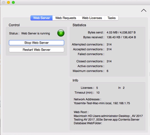 Server Status & IP Address