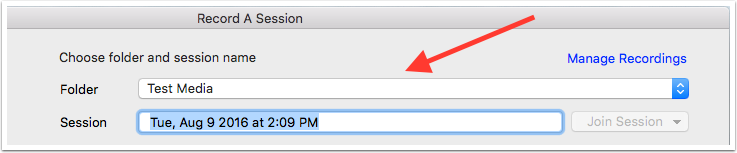 image showing record a session screen with folder select drop down highlighted