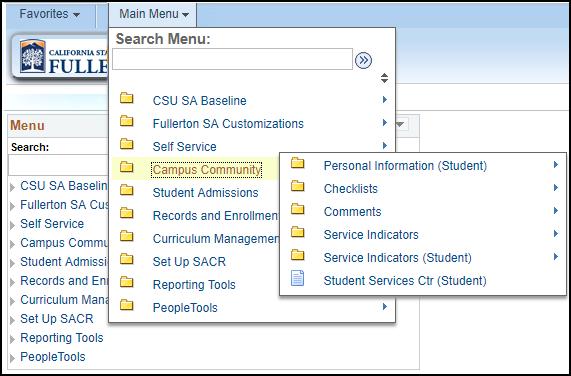 New Campus Solutions menu