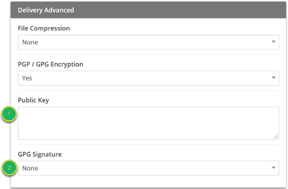 Under the Delivery options, choose if you want any Compression, Encryption, and what you wish the File to be named.