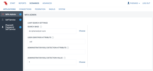 LDAP search settings