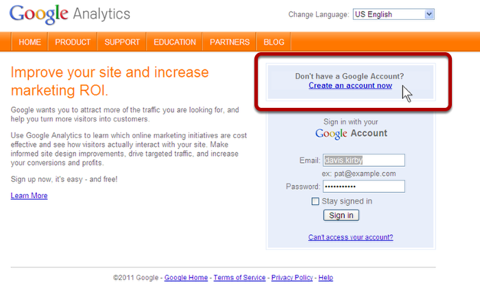 Sign up for an account at Google Analytics.