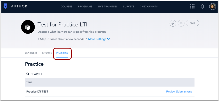 Click Practice tab
