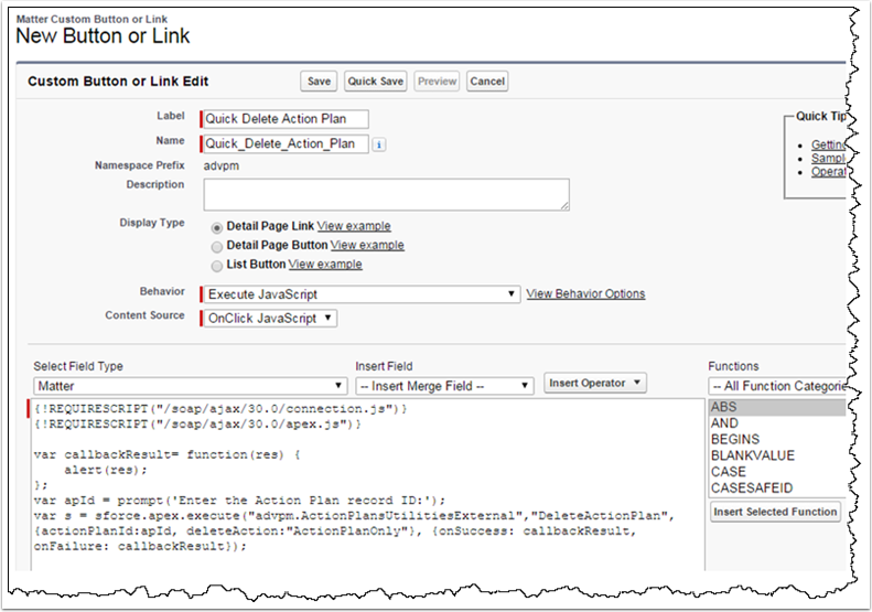 Example Using a Link from the Matter Context