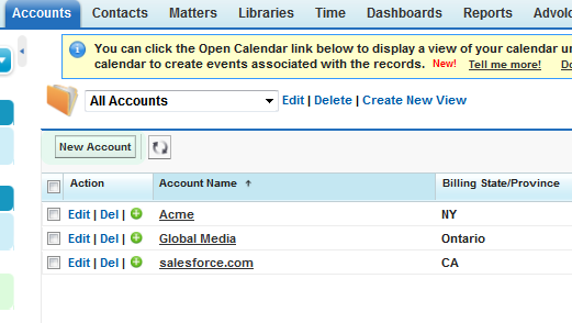 Create New Account  ~  From An Account List View
