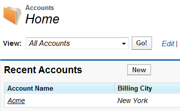 From Account TAB Home Page