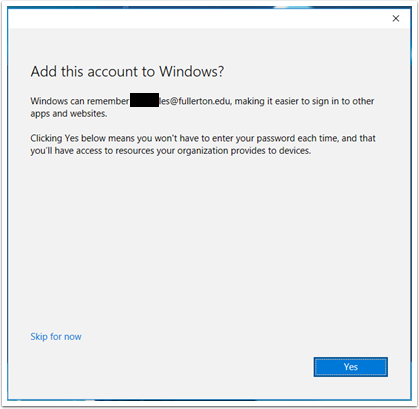 Add this account to Windows
