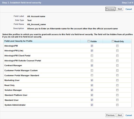 Account: New Custom Field ~ Step 3. Establish field-level security