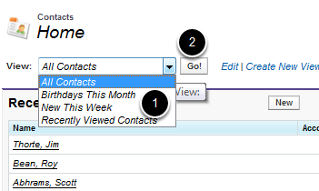 Navigate to a Contact List View
