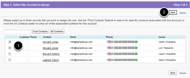 Choose Contact Records to Merge