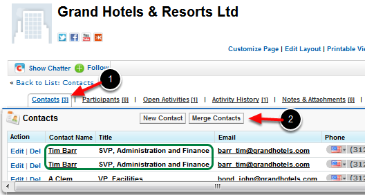 Navigate to the Contacts Related List on the Account detail page
