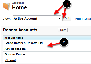 Go to an account List View