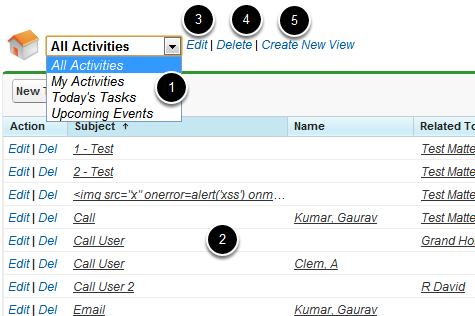 Activities List View Options