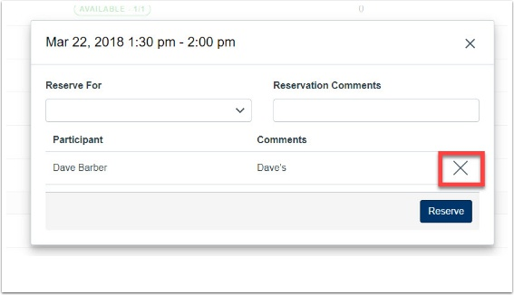 """click on """"Unreserve"""" next to the attendees' name."""