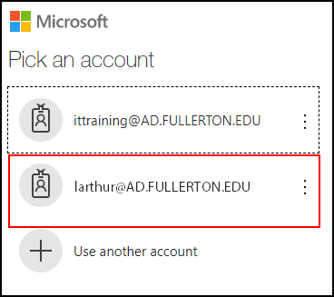 Office 365 page with accounts populated