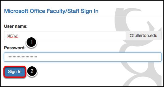 CSUF Microsoft login page