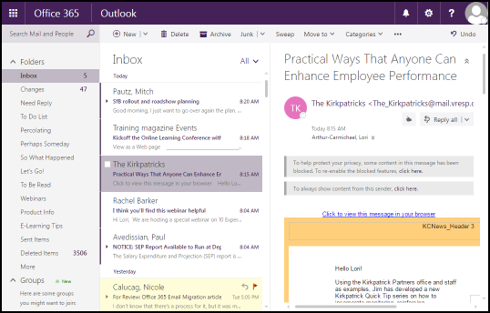 Outlook on the Web