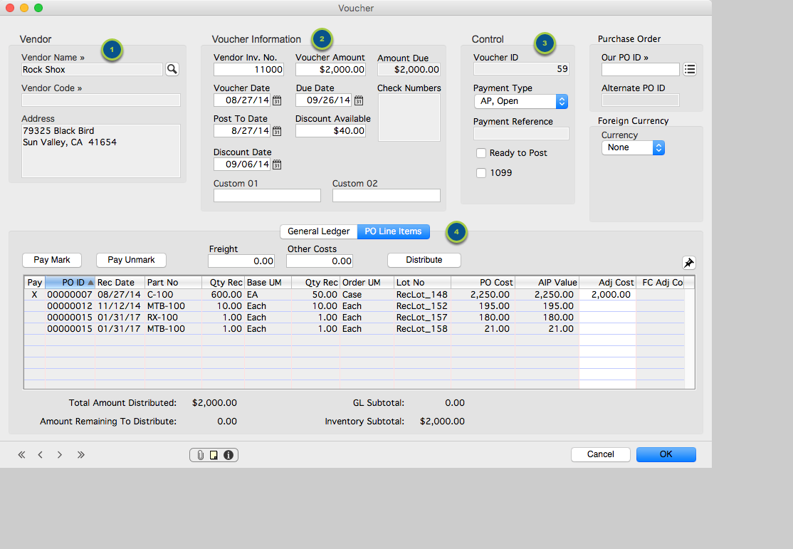Enter a Vendor Invoice for Inventory (Purchase Order) items...