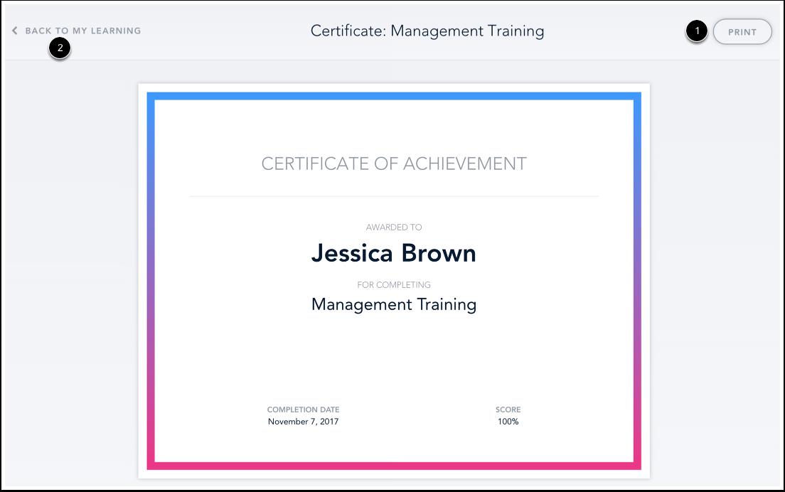 Imprimer le certificat