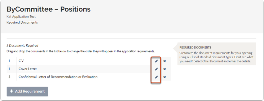 2. Select the pencil next to the requirement that needs to be optional