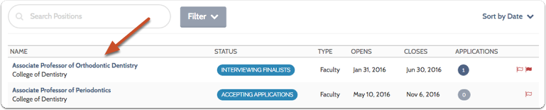 Find the position you are working on and click the title to open the list of applicants for the position