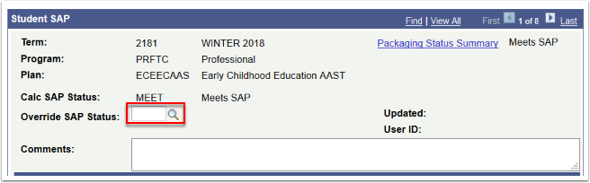 Student SAP page - override SAP Status field highlighted