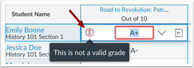 View Letter Grade Validation Error