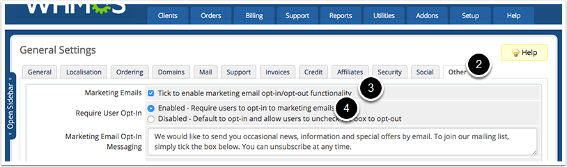 Marketing Email Settings