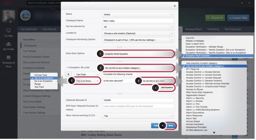 Configure Exception Multi Question Checkpoint