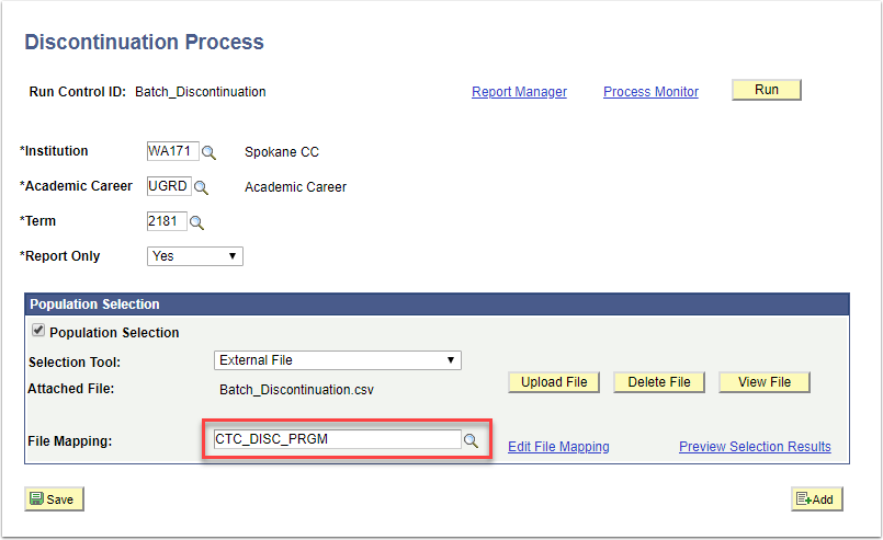 Discontinuation Process File Mapping area highlighted