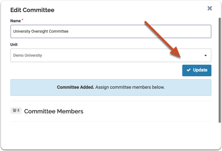 """Click """"Update"""" when you are finished creating the standing committee"""