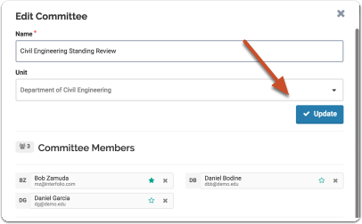 """Click """"Update"""" when you are finished adding members to the standing committee"""