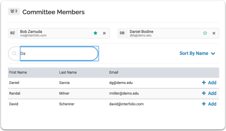 Type the name of an existing user and it will appear in the list