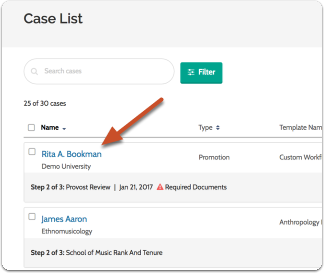 Navigate to the case you want by clicking on the candidate's name in the list of cases